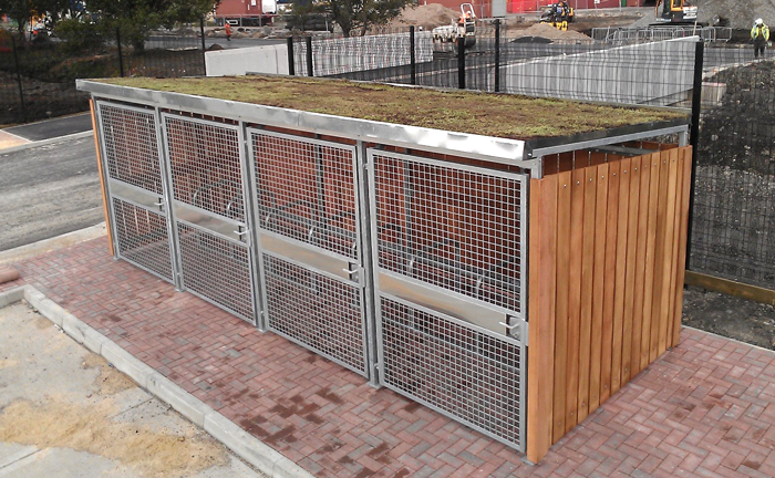 Secure Bike Shelters : Green roof cycle shelter cyclehoop