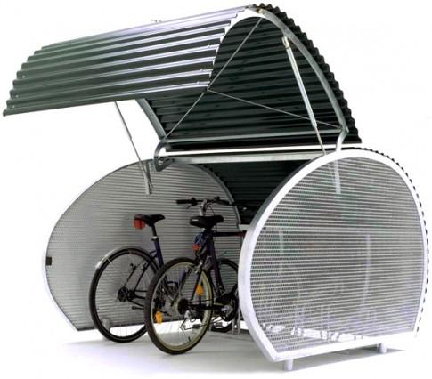 Fietshangar to konstrukcja, która może przechowywać do pięciu rowerów i zajmuje tylko połowę miejsca parkingowego.